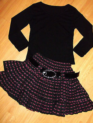 GIRLS BLACK TOP & PINK CHECK PATTERN RUFFLE COSPLAY SKATER PARTY SKIRT age 3-4
