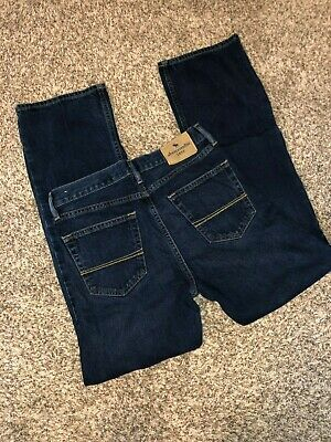 Boys Abercrombie & Fitch dark denim blue jeans 15/16 boot cut