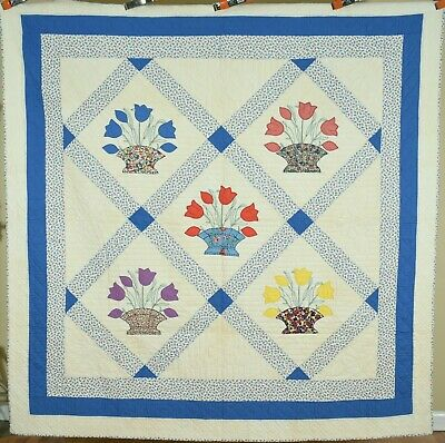 WELL QUILTED 30's Tulip Basket Antique Quilt ~BEAUTIFUL VINTAGE FABRICS!