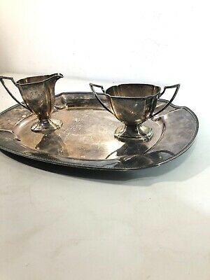 Sheffield Pairpoint Silver Plate Creamer Pitcher/ Sugar Bowl/ Platter Tray 3-PCS