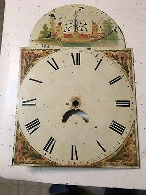 Antique Grandfather Clock Dial Hand Painted Flower Ancient Asian Chinese Fishing