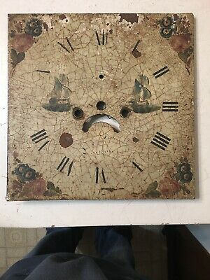 Crusty Antique Grandfather Clock Dial With Painted Tall Ships & Flowers