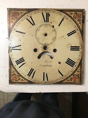 Antique English Grandfather Clock Floral Painted Iron Dial Haines Swindon Wright