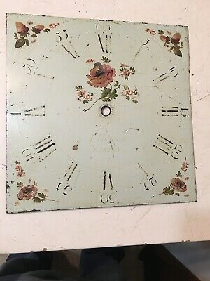 Antique Grandfather Clock Dial Painted Strawberries & Flowers Hanson Yaxley