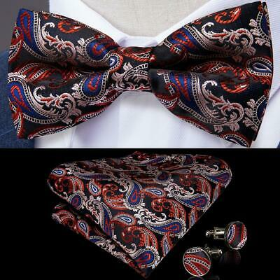 BRAND NEW RED PAISLEY JACQUARD MENS BOW TIE/&POCKET SQUARE SET B723