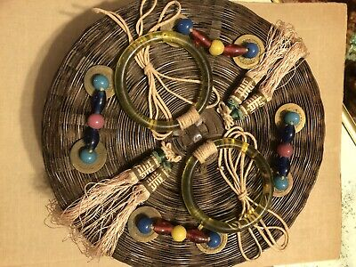 ANTIQUE Authentic Chinese Sewing Basket Loaded with Peking Beads Coins Tassels