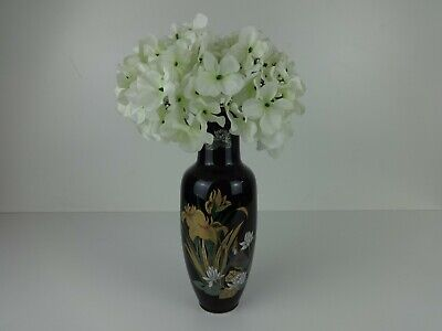 Vintage Japanese Vase Black Lacquered Floral Flower Design Display Gold Detail