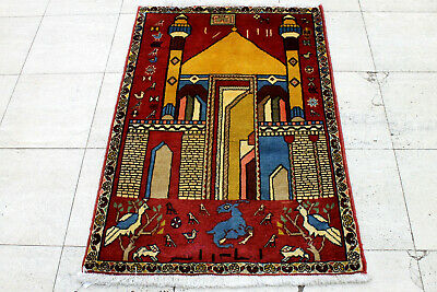 2X3 Breathtaking Mint 300+Kpsi Hand Knotted Pictorial Wool Tabrizz Persiann Rug