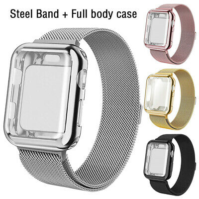 For Apple Watch Series 5 4 3 2 1 Stainless Steel Band Strap+Full Body Case Cover