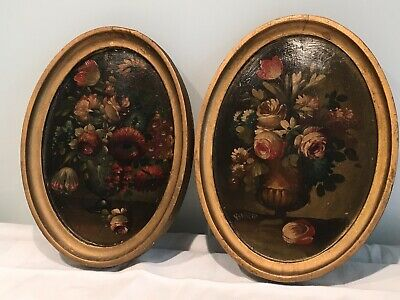 Pair Of Antique Hand Painted Classical Flowers, Urns Italian Wooden Panels