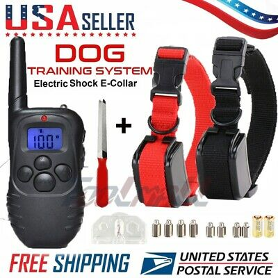 2 Dog Shock Training E Collar With Remote Electric Trainer Small Large Big 400FT
