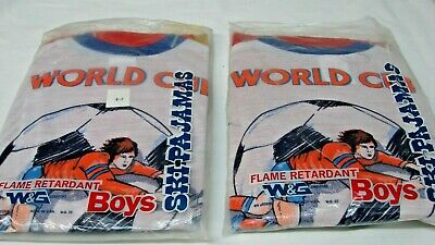 Lot Of 2 Pair Nos 1970S Vintage Boy's Size 6-7 World Cup Soccer Pajamas