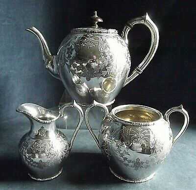 GOOD Ornate ENGRAVED ~ SILVER Plated ~ Bulbous TEA SET ~ c1890 by Atkins