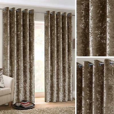 Mink Eyelet Curtains Crushed Velvet Ready Made Lined Ring Top Curtain Pairs