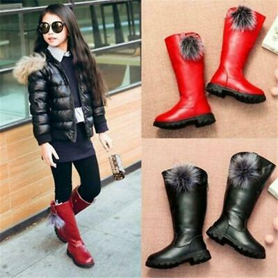 Girls Children Kids Winter Warm Snow Fur Lined Shoes High Boots Waterproof Shoes