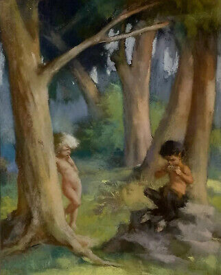 Early 20Th Century French Symbolist Pastel - Pan Pipe Faun Playing In Woodland