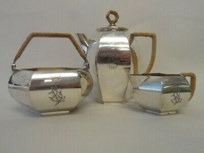 Antique Russian silver 84 three-piece tea set by Grachev Brothers 981 grams