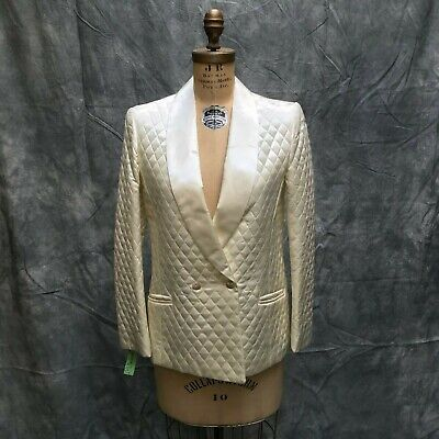 VTG 1970s NOS NWT Womens Quilted Satin Blazer Smoking Jacket Ivory Cream MED