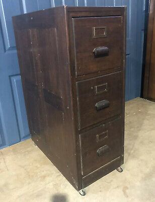 Antique / Vintage Oak Filing Cabinet Wooden Three Drawer
