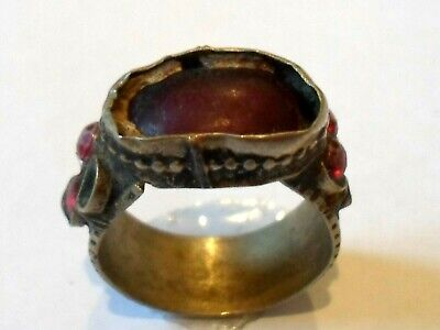 Genuine,Beautiful, Post Medieval Silvered Ring With Glass/Stones..