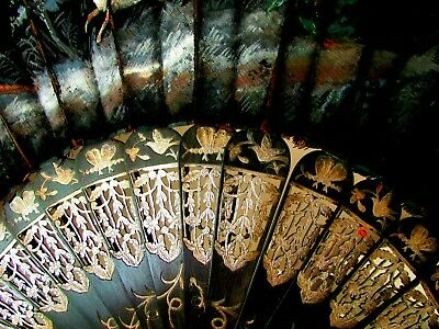 Antique Victorian Ebony Carved Silver Inlay Black Painted Silk Mourning Fan