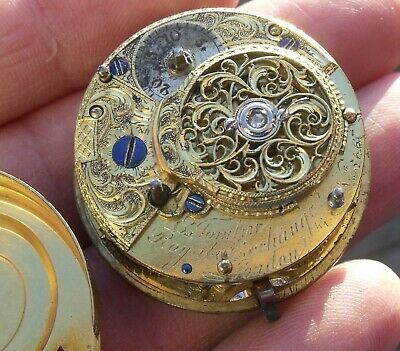Antique Fusee Verge Pocket Watch Movement ,E. Tomlin, Royal Exchange London.