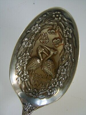 AMAZING ANTIQUE Large Decorated Silver Plate Serving Spoon VICTORIAN KITE MARK