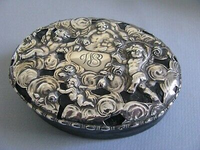 Vtg Sterling Silver Jewelry Box Playful Cherubs Marked Mauser Case Antique Roses