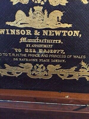 🇬🇧BARGAIN WINSOR & NEWTON ANTIQUE wooden paint box appointment to Her Majesty