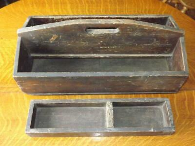 AAFA Early American Antique Primitive Wood Kitchen Knife Box Tray Handle W/ TILL