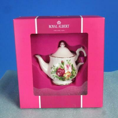 Royal Albert China - Christmas Tree Ornament - Old Country Roses Teapot in Box
