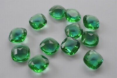 Sapphire Peridot 2 Tone West German 18mm Antique Square Glass Stones 8 pcs -R078