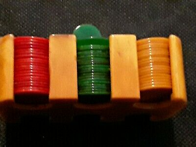 Catalin/Bakelite Poker Chips with rack-Miniature.