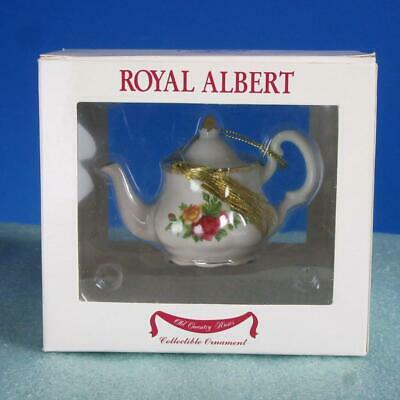 Royal Albert China - Christmas Tree Ornament Old Country Roses Teapot White Box