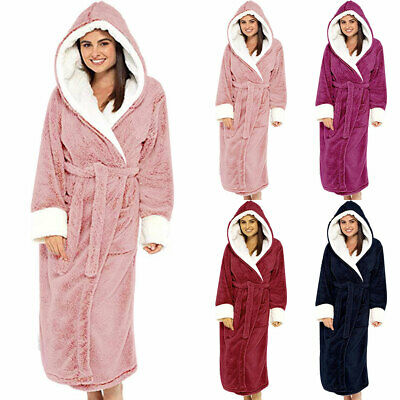 Women Dressing Gown Hoodie Nightwear Fluffy Soft Warm Winter Hooded Bath Robe