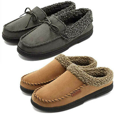 Mens Loafers Slippers Suede Moccasins Winter Fuzzy Plush Mules Clogs House Shoes
