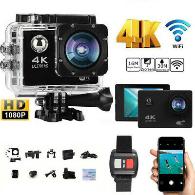 Pro Cam 4K IMPERMEABILE SPORT WIFI ACTION CAMERA ULTRA HD DVR VIDEOCAMERA NERO
