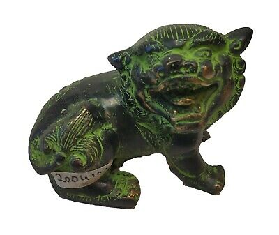 Vintage Brass Beautiful Engraved Antique Chinese Lion Statue Figurine #TSHUK256