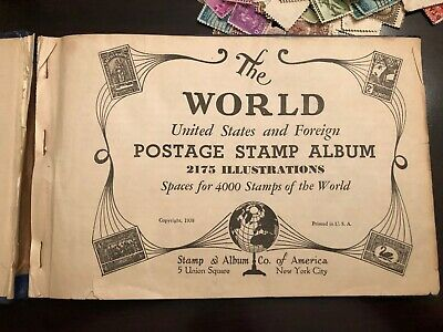 Continental postage stamp album with old us and foreign stamps