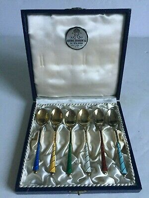 6pc Lot Georg Jensen Gold Washed Sterling SIlver Enamel DEMITASSE Spoons w BOX