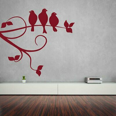 Wall Sticker Sparrows On Branch Design Mural Art Home Room Decor Picture