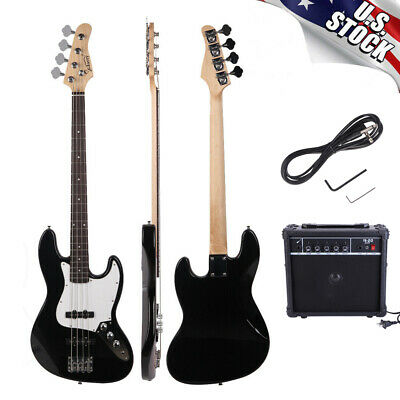 Glarry GP 4 Strings 20 Frets Electric Bass Guitar with AMP & Plectrum & Bass Bag