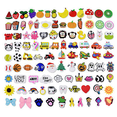 US Stock 100PCS PVC Shoe Charms Accessory Fit Clog Wristbands/Shoe Lace Adapter