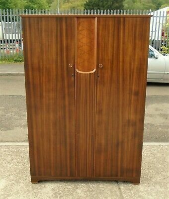 Vintage Walnut Veneered Double Wardrobe  Repolished     Delivery Available