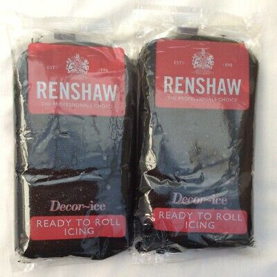 Renshaw Ready To Roll Icing Jet Black 500g x 2 (1kg)