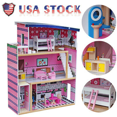 Kids Sweet Wooden Pretend Play House Doll Dollhouse with Furniture Children Gift
