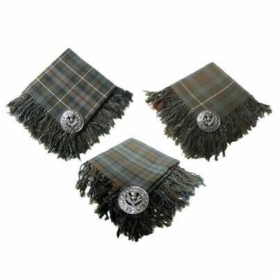 Tartanista Mens Scottish Weathered Tartan Fly Plaids with Thistle Brooch