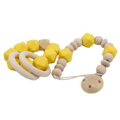 Handmade Wooden Dummy Clip Chain Beads Teether Baby Gift Pacifier C