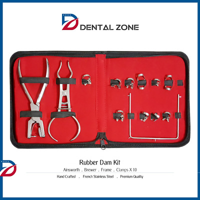 Rubber Dam Kit Starter Of 10 Pcs. Clamps Ainsworth Brewer Dental Instruments