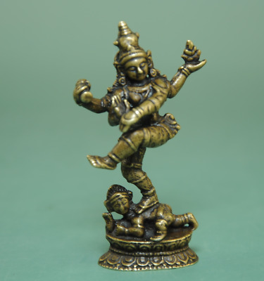 Old China Solid Copper Collectible dance Buddha Pure Manual Vintage Statue Ba01